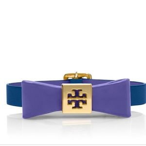 Tory Burch leather bow bracelet, purple and blue